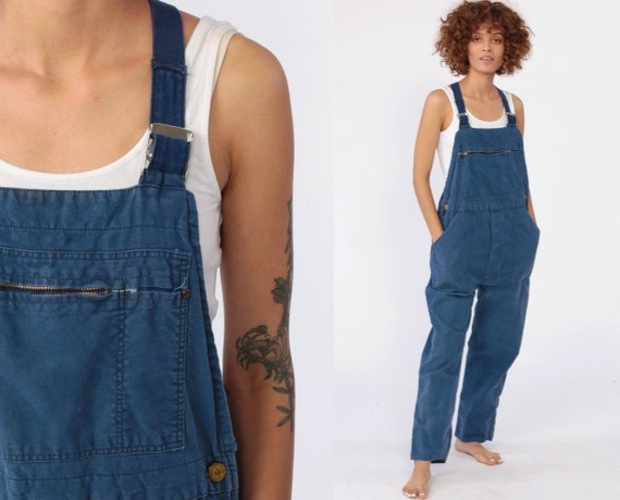 Blue Cotton Overalls -- 90s Workwear Baggy Bib Ove