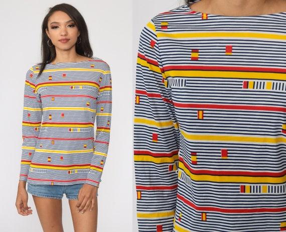 Striped Blouse 70s Shirt Long Sleeve Top Geometric Op Art Print Boho Disco Nerd Boat Neck 1970s White Red Yellow Small