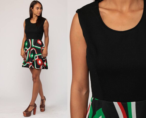 Mod Mini Dress 70s High Waist Boho Geometric Print Vintage Sleeveless 1970s Bohemian Black Minidress Retro Medium Large