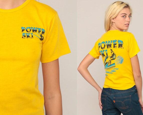 Jet Ski Shirt Graphic Tee 80s POWER SKI Retro T Shirt Vintage Water Sports 70s Tshirt Paper Thin Tee Print Baby Tee Yellow Extra Small xs