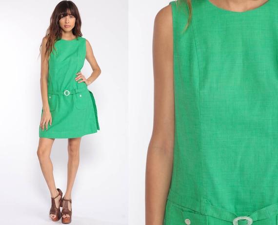 1960s Mod Dress Green Dress Scooter Dress Space Age 60s Mini Drop Waist GOGO Culottes Vintage Minidress Twiggy Medium