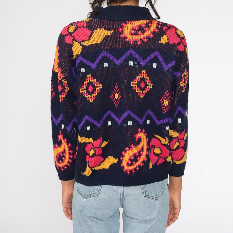 Floral Sweater 80s Navy Blue Paisley Sweater Graphic Print Knit Slouchy 1980s Pullover Pink Vintage Hipster Jumper Kawaii Medium