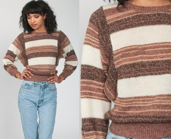 Brown Striped Sweater 80s Batwing Sweater 70s Knit Sweater Slouchy Dolman Pullover Jumper 1980s Vintage Retro 1970s Stripes Small