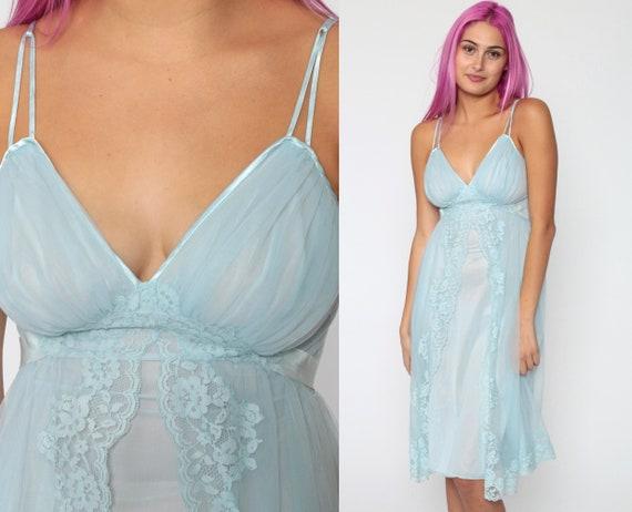 Pastel Lingerie Nightgown Baby Blue LACE Babydoll Slip Dress 70s Sheer Nylon Mini Deep V Neck 1970s Vintage Boho Empire Waist Extra Small xs