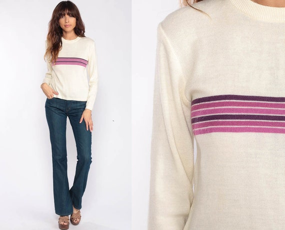 Cream Sweater Striped Sweater WOOL Blend 80s Slouch Knit Retro Lavender Purple Oversized 1980s Vintage Retro Small
