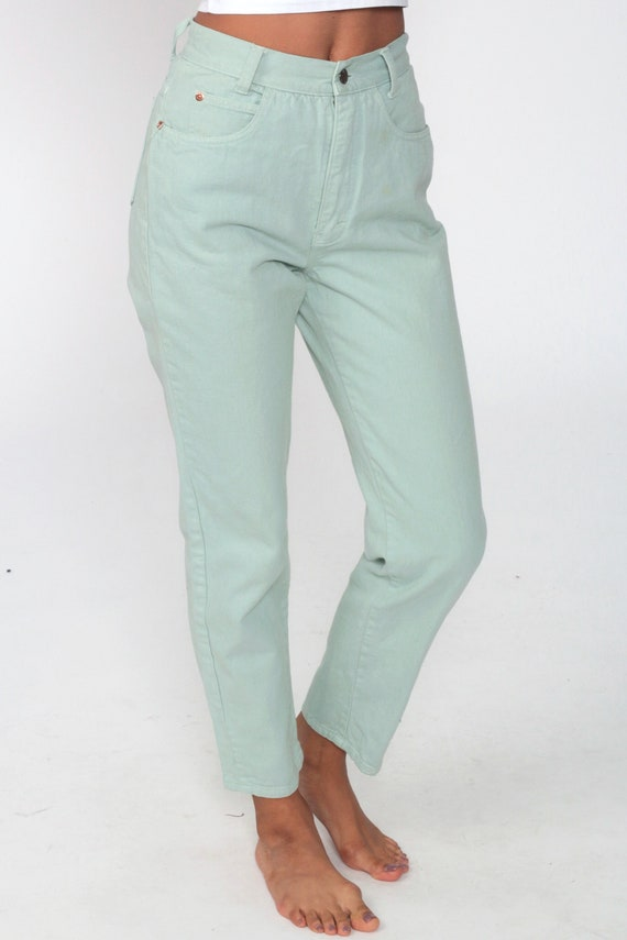 Mint Pastel Jeans XS -- Tapered Leg 90s Jeans Mom… - image 4