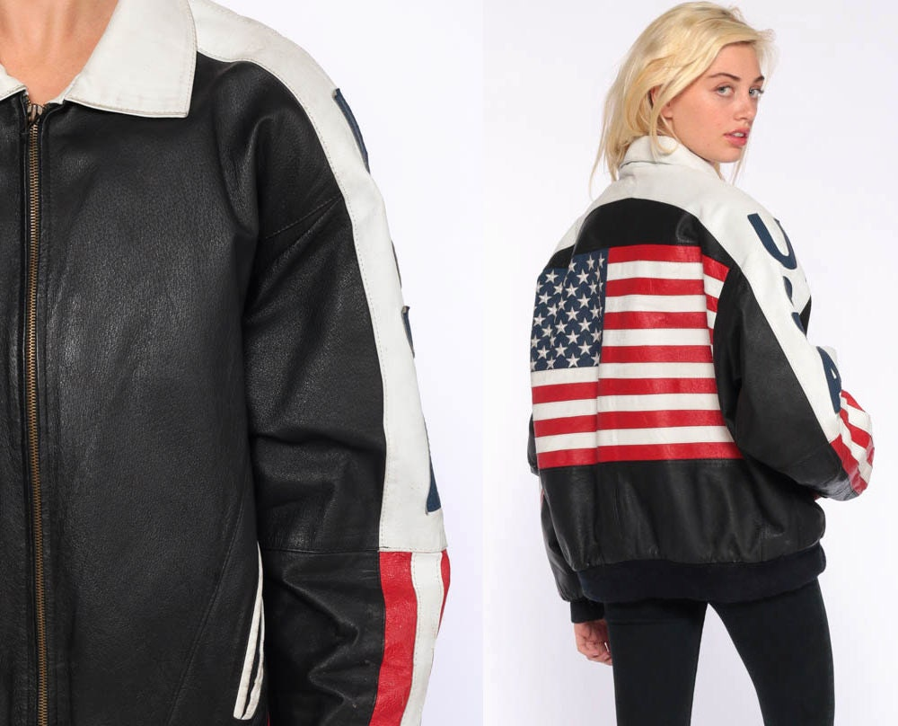 80s Genuine Leather American Flag Jacket
