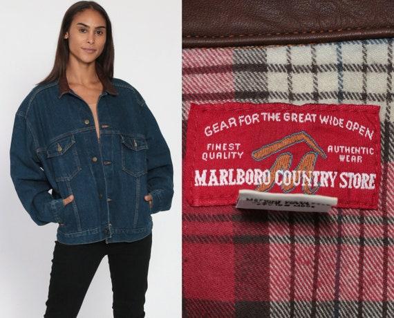 90s Marlboro Jean Jacket M -- LEATHER COLLAR Jacket 80s Denim Jacket Tobacco Cigarette Oversized 90s Vintage Blue Country Store Retro Medium