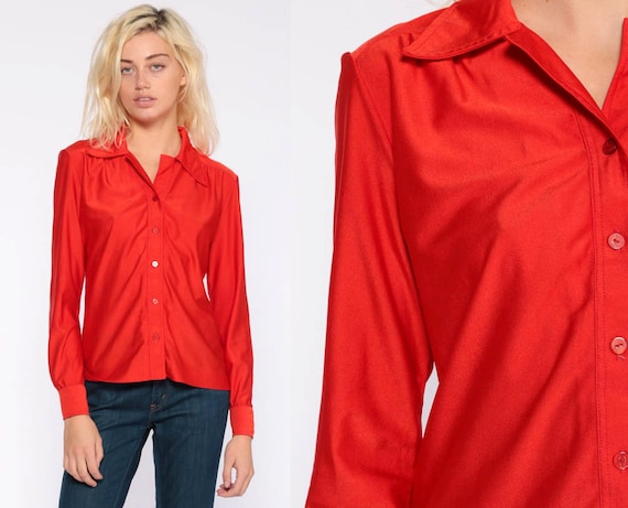 Red Blouse Button Up Shirt 70s Shirt Hippie Boho 1970s Shirt Disco Top Vintage Collared Plain Hipster Long Sleeve Small