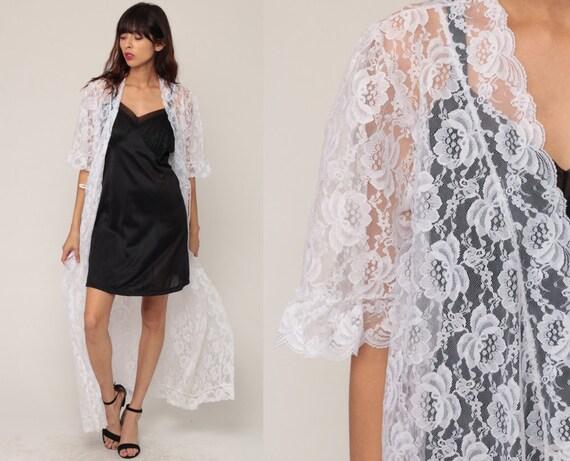 White Lace Robe Sheer Robe Long Lingerie Jacket 70s White LACE Kimono Robe Maxi Lingerie Bridal 1970s Vintage Medium Large