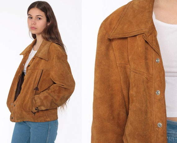 Suede Leather Jacket Brown Leather Jacket 70s Bohemian Coat Boho Hippie Collared 1970s Vintage Hipster Snap Small Medium