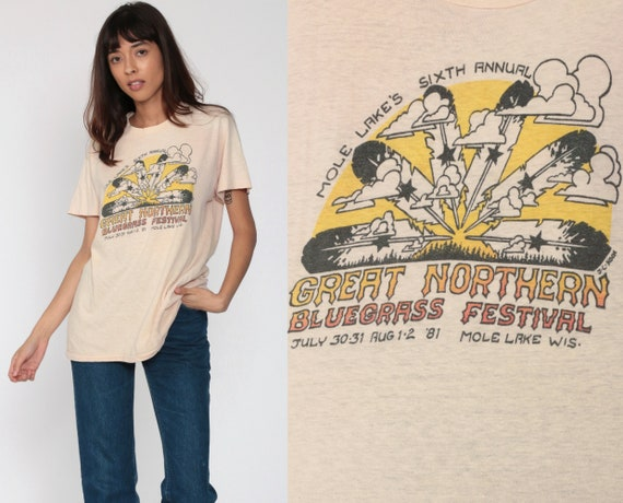 Bluegrass Festival Shirt Mole Lake Wisconsin Shirt 1981 Retro TShirt 80s Band Music Festival Vintage T Shirt Thin Tee Graphic Small Medium
