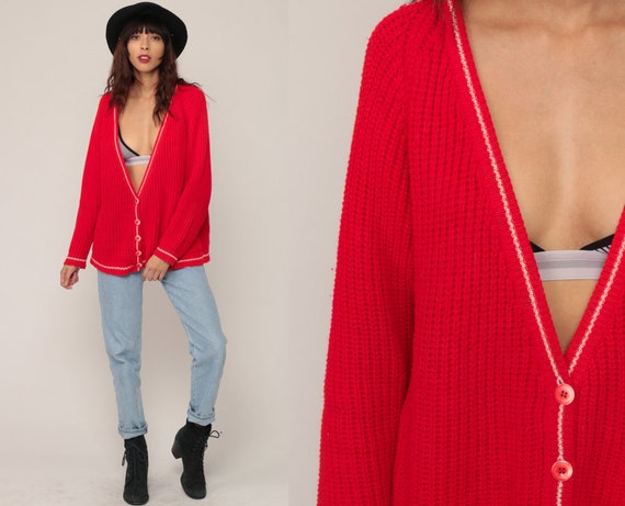 Red Cardigan Sweater 80s Sweater Textured Knit Sweater Button  59ccf9e5f