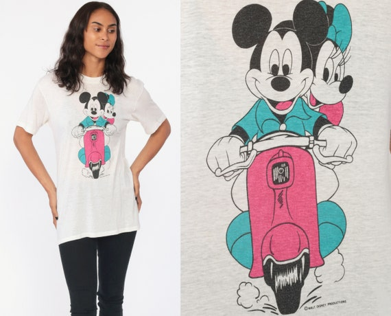Mickey Mouse TShirt Minnie Mouse Shirt 80s Scooter Walt Disney Burnout Graphic Cartoon T Shirt Paper Thin Vintage Tee Kawaii Small Medium