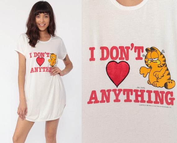 Garfield Pajama Dress DON'T LOVE ANYTHING Night Shirt Cynical Nightgown Sleep Dress  Comic Cat Burnout 80s T Shirt Mini Vintage Small Medium