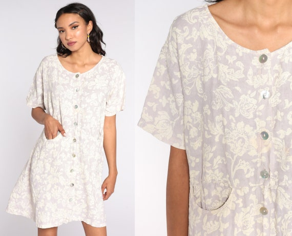 80s Floral Dress Grunge Mini 90s Button Up Dress Linen Dress 1990s Short Sleeve Vintage Minidress Shift  Small Medium Large