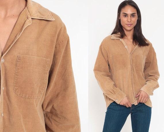 Corduroy Shirt 80s Shirt Grunge Button Up Tan Shirt Oversize Top Over Shirt 90s Vintage Long Sleeve Normcore Plain Small Medium