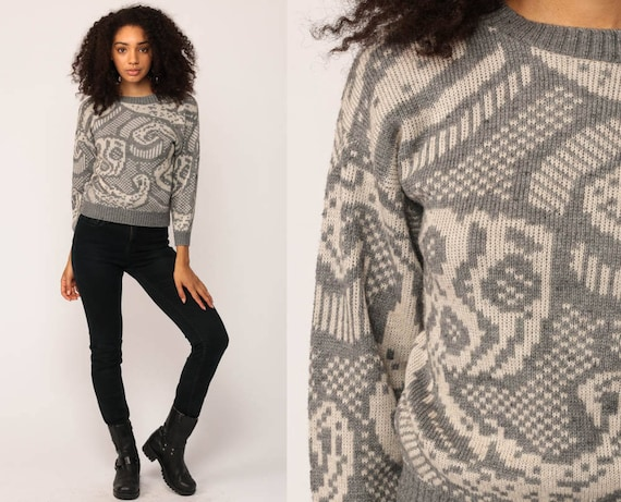 Grunge Sweater Geometric 80s Grey Print Knit Jumper 90s Hipster Statement Vintage Pullover Retro Gray White Small