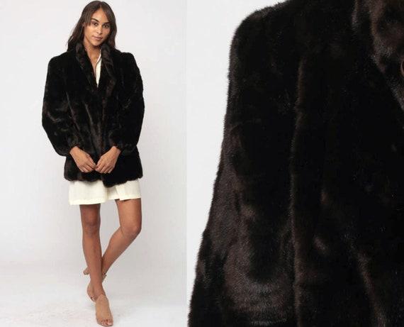 Faux Fur Coat 70s Furry Jacket Brown Fake Fur Mod Winter Coat Warm Vintage 1970s Bohemian Chunky Animal Winter Fuzzy Boho Medium