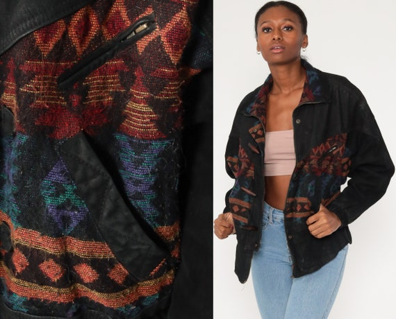 Suede Southwestern Jacket Black Leather Jacket Blanket Jacket Boho Jacket 80s Aztec Vintage Southwest Retro Medium Large