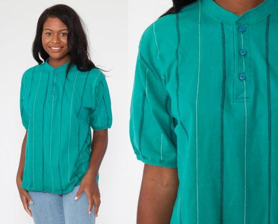 Eddie Bauer Shirt Turquoise Green Striped Shirt Polo Shirt 80s Shirt Short Sleeve Shirt Half Button Up 90s Vintage Men's Large