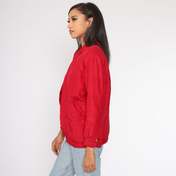 Red Silk Jacket Windbreaker Jacket 1980s Retro 80… - image 5