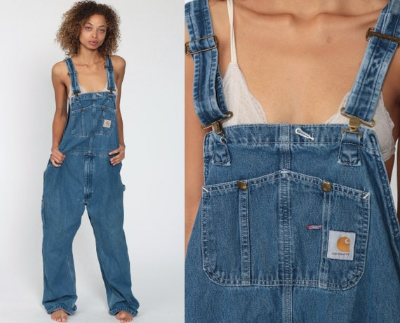 Carhartt Overalls 46 x 30 90s Bib Jean Overalls Denim Pants Dungarees Blue Pants Baggy Long Vintage Coveralls Workwear Men's Extra Large xl