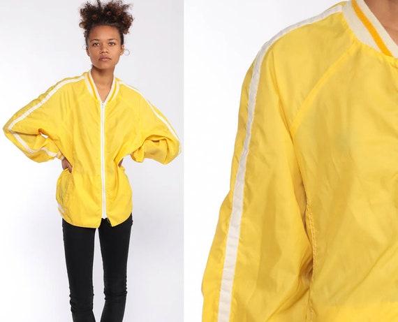 Yellow Windbreaker Jacket Zip Up Jacket 70s Baseball Jacket Nylon Raglan Sleeve Coach Jacket Windbreaker 1970s Vintage Striped Large