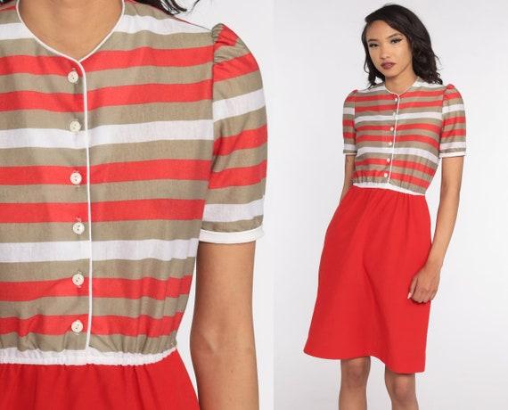 Striped Puff Sleeve Dress 80s Midi Dress Red Tan Bohemian High Waisted Boho Secretary Vintage 1980s button up Small