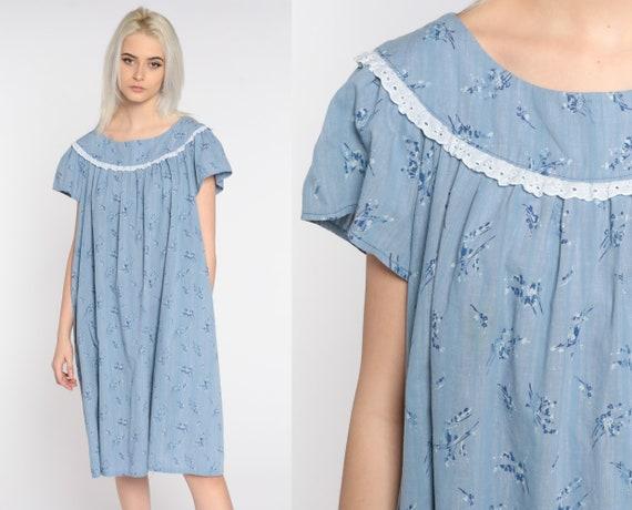 Blue Floral Dress Tent Dress Bohemian 80s Vintage Tunic Trapeze Midi Short Sleeve 1980s Boho Hippie Dress Extra Large xl