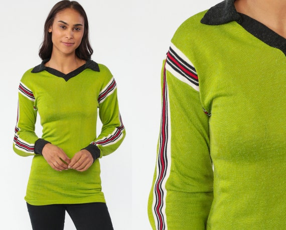 70s Soccer Shirt Lime Green Padded Jersey Long Sleeve Shirt 70s Shirt Field Shirt Vintage Sports Elbow Pads Football Collared Extra Small xs