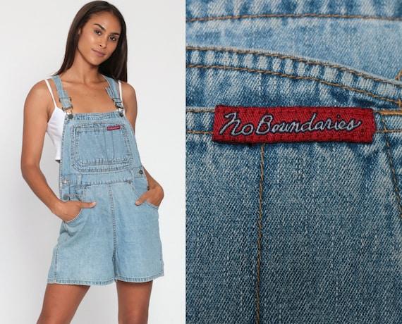 90s No Boundaries Overalls Denim Jeans Shorts Bib Shortalls Women Grunge 1990s Blue Shorts Denim Vintage Small