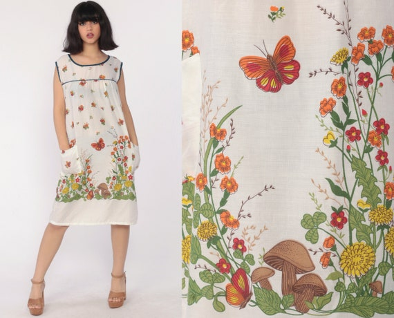 70s House Dress MUSHROOM Floral Butterfly Print Mini Dress Tent Loungewear Shift Vintage Lounge Day Sleeveless Minidress White Medium