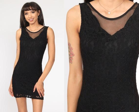 90s Bodycon Dress Black Lace Mini Dress Low Back Body Con Vintage Tank Dress 1990s Club Party Dress Rave Sleeveless Small