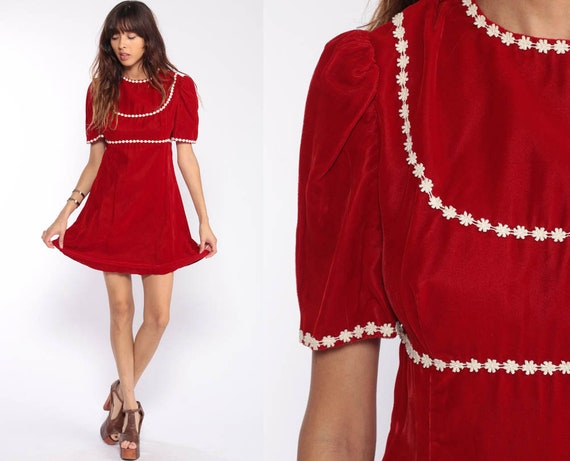 Velvet Mini Dress 70s Mod Babydoll Party Dress 1970s Boho Red Cocktail Prom Vintage Puff Sleeve Lolita Bohemian Dolly Medium