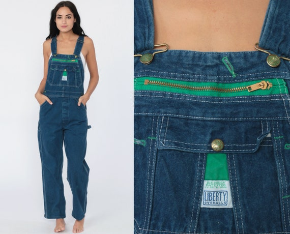 Liberty Overalls Bib Overall Pants Baggy Dungarees 80s Denim Grunge Long Jean Pants 1980s Boyfriend Hipster Carpenter Extra Small xs