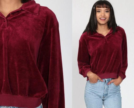 Wine Velour Sweatshirt Pullover Sweatshirt VELOUR Shirt 80s Sweater Burgundy Red Soft Collared Long Sleeve 1980s Retro Jumper Small Medium