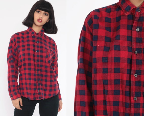 Red Flannel Shirt 90s Blue Plaid Grunge Lumberjack Navy Oversize Long Sleeve Button Up Vintage Lumberjack Soft Cotton  Small Medium