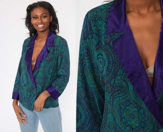 Victoria's Secret Pajama Top Paisley Lingerie Pajama Shirt 90s Pajamas Top Teal Purple Button Up Sleep Shirt Vintage 1990s Small Medium