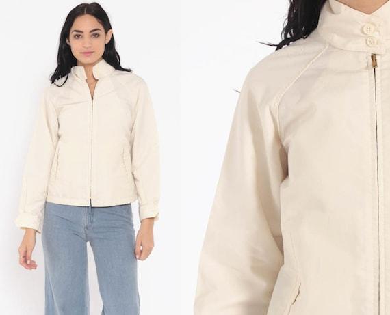 London Fog Jacket Cream Plain Zip Up Raglan Sleeve Bomber Sports Normcore High Collar Vintage 80s Retro Small