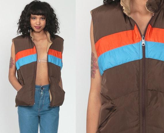 Reversible Ski Vest 70s Vest Down Brown Vest Striped Tan Puffy Sleeveless Jacket Winter Color Block 80s Puffer Vintage 1970s Medium Large