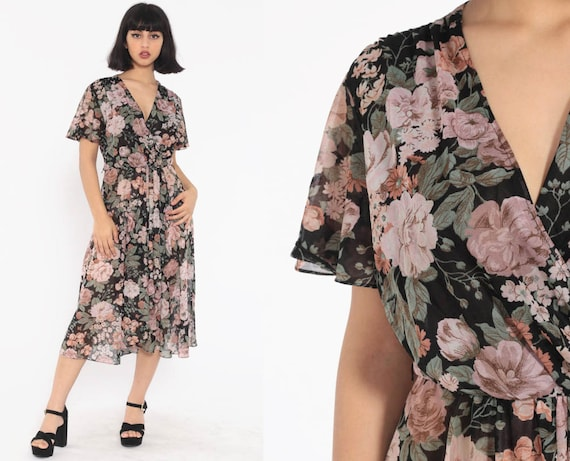 Floral Midi Dress 70s Wrap SHEER Boho Chic Flutter Sleeve 1970s Deep V Neck Bohemian Vintage High Waist Retro Disco Hippie Small