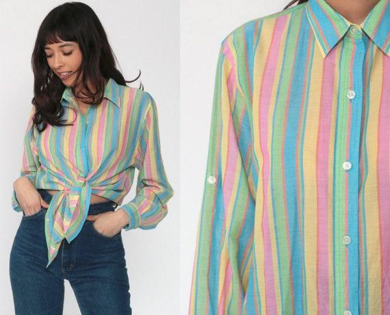 Ralph Lauren Shirt 90s Pastel Rainbow Shirt Striped Shirt Button Up Polo Sport Oxford 1990s Long Sleeve Boyfriend Vintage Large