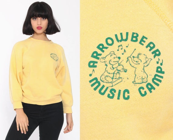 Distressed Raglan Sweatshirt ARROWBEAR MUSIC CAMP Shirt 80s Band Shirt Bear Kawaii Grunge Graphic 1980s Yellow Vintage Small