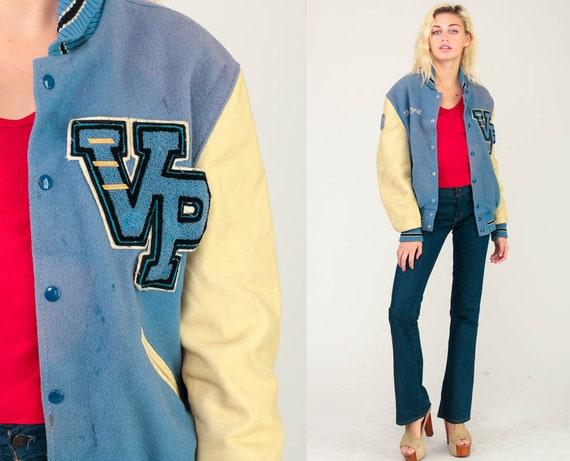 Wool Letterman Jacket 1980 Varsity Jacket LEATHER Baseball Jacket Football Bomber 80s Sports Coat Blue Distressed Vintage Extra Large xl