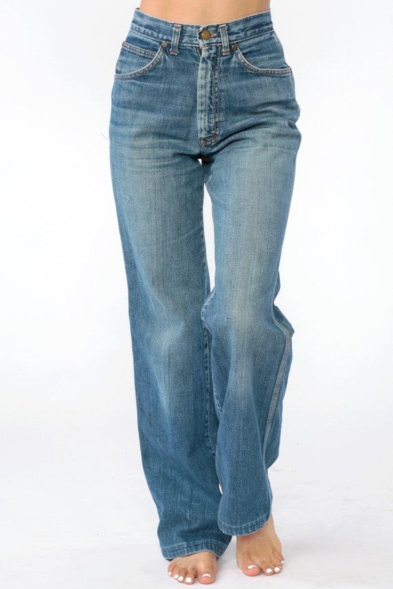 BELL Böden Jeans Hose böhmischen hoch taillierte Jeans 80er Jahre Denim Hose 70er Jahre Hippie Boho Brittania Jahrgang Hipster blau ausgestellt Medium