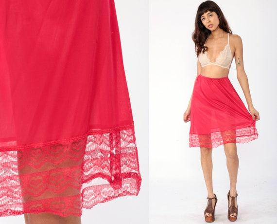 Red Half Slip Skirt HEART PRINT LACE Lingerie Skirt 70s Midi Nylon Pinup High Waisted Boho Pin Up Bohemian 80s Vintage Extra Small xs s