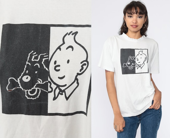 Tintin Shirt Comic Tshirt Y2K Graphic Shirt Vintage Tee Retro T Shirt 00s Medium