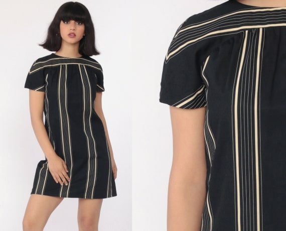 70s Mini Dress Black Striped Dress Mod Shift Boho Retro 80s Bohemian Minidress Vintage 1970s Gogo Short Sleeve Small