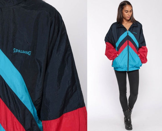 Spalding Windbreaker 90s Windbreaker Jacket Shiny Navy Blue Turquoise Jacket Striped Color Block Streetwear Vintage 1990s Extra Large xl